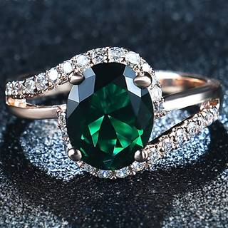 Prsteň Diana-Zlatá/Zelená/55mm