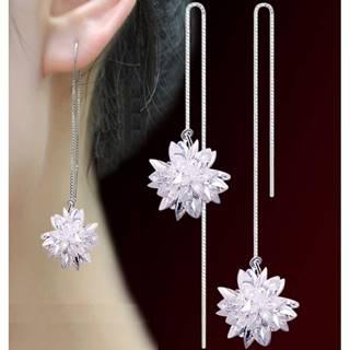Náušnice Long Ice Flower-Strieborná