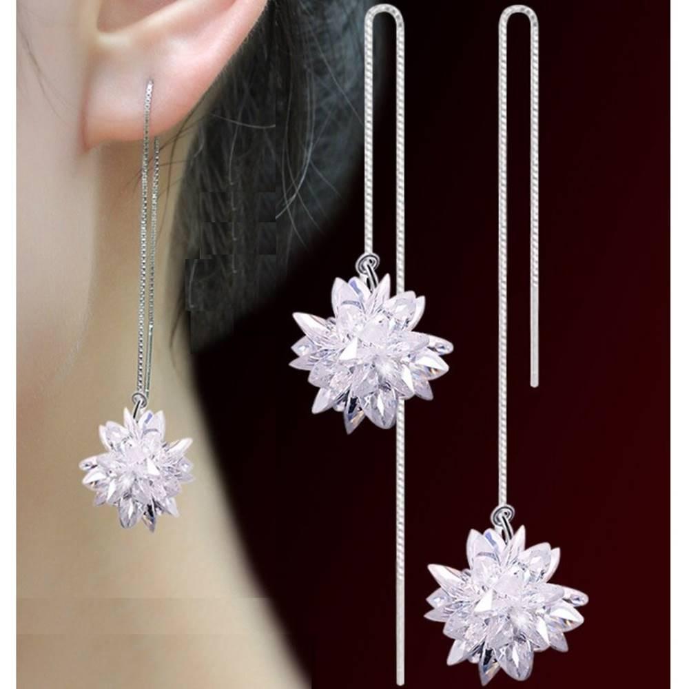 Izmael Náušnice Long Ice Flower-Strieborná