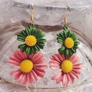 Náušnice Summer Daisy-Zelená/Ružová
