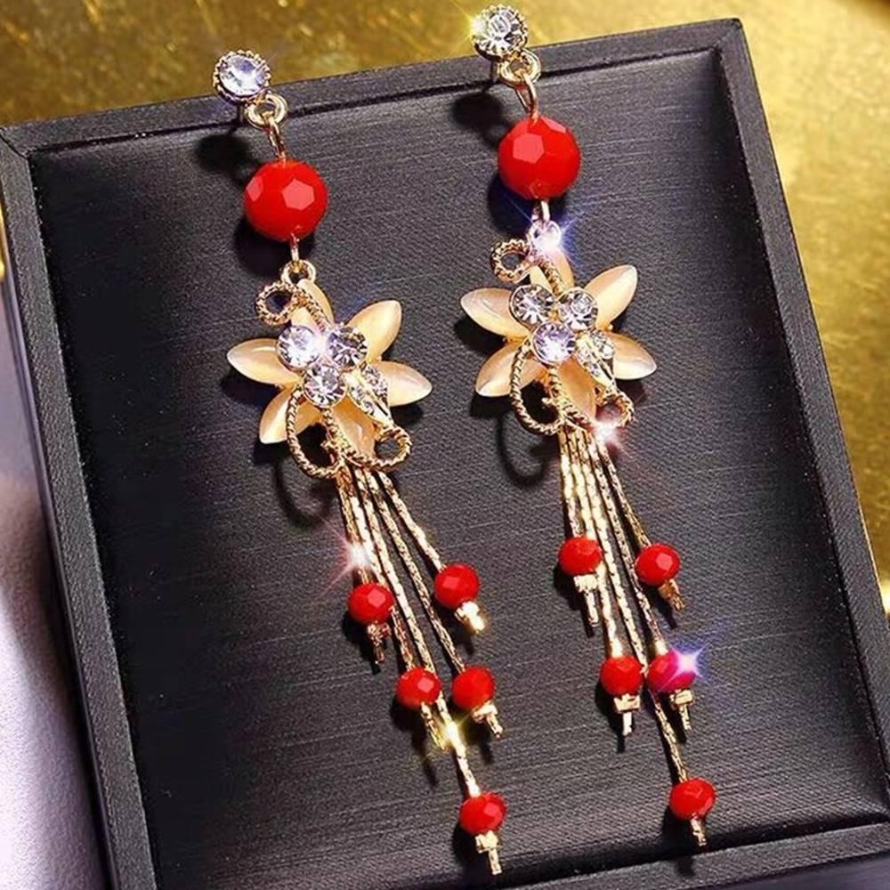 Izmael Náušnice Elegant Flower-Červená