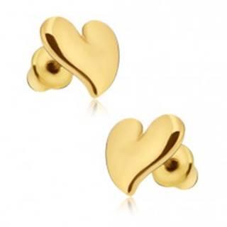 Náušnice lesklej zlatej farby, asymetrické srdce
