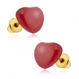 Náušnice - súmerné červené glazúrované srdcia