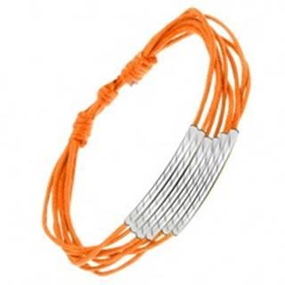 Oranžový šnúrkový náramok, lesklé rúrky so šikmými zárezmi