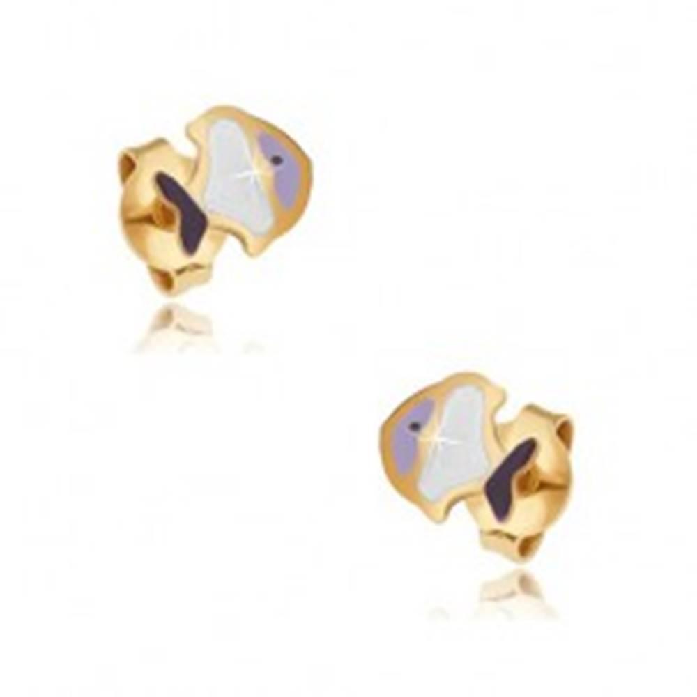 Šperky eshop Náušnice v žltom 9K zlate - drobná glazúrovaná fialovo-biela rybička