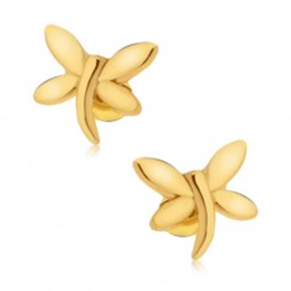 Šperky eshop Puzetové náušnice, vážka zlatej farby