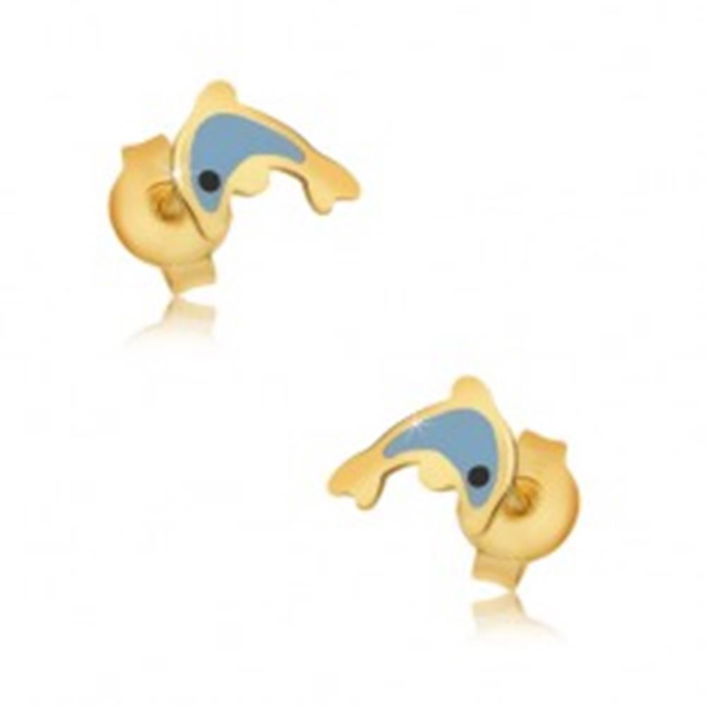 Šperky eshop Zlaté náušnice 375 - glazúrovaný modrý delfín, lesklý hladký povrch