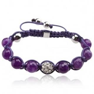 Lesklý fialový Shamballa náramok, gulička s čírymi kamienkami