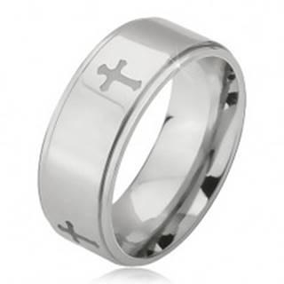 Lesklý oceľový prsteň - obrúčka striebornej farby, vyrytý matný kríž, znížený okraj - Veľkosť: 52 mm