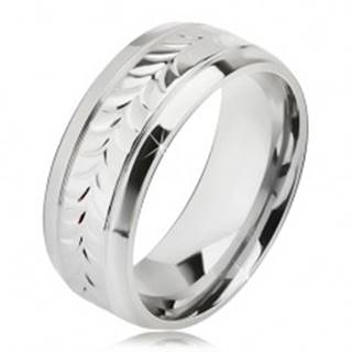 Lesklý oceľový prsteň, ryhy, vzor z rozdvojených lístkov - Veľkosť: 57 mm
