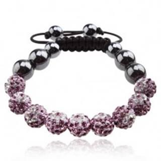 Náramok Shamballa, fialové guličky s čírymi kvetmi, hematitové korálky