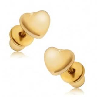 Náušnice zlatej farby, súmerné lesklé srdcia