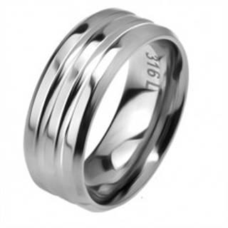 Oceľový prsteň, dva žliabky, skosené okraje - Veľkosť: 57 mm