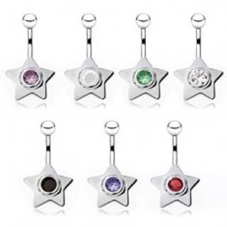 Piercing do brucha z ocele, hviezda s farebným zirkónom - Farba zirkónu: Biela - W