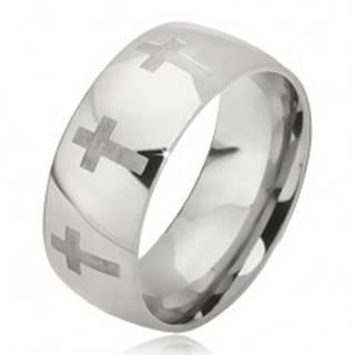 Prsteň z ocele - lesklá obrúčka striebornej farby, matný latinský kríž - Veľkosť: 52 mm