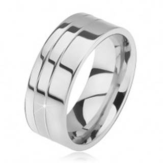 Prsteň z ocele, lesklý, rovný, dva zárezy pri okraji - Veľkosť: 57 mm