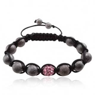 Shamballa náramok, ružová zirkónová gulička, sivé korálky