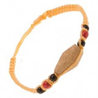 Šnúrkový náramok žltej farby, drevený valček, farebné korálky