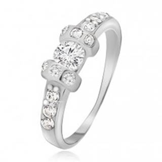 Strieborný prsteň 925 - dve vystúpené obruče, číry okrúhly zirkón - Veľkosť: 48 mm