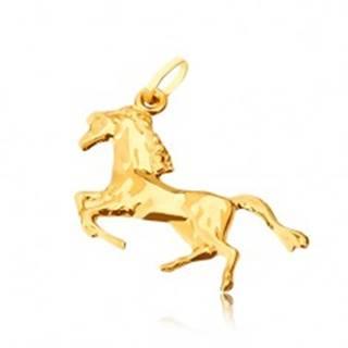 Zlatý prívesok 585 - lesklý kôň postavený na zadných nohách