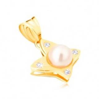 Zlatý prívesok 585 - lesklý motýľ s okrúhlymi čírymi zirkónmi, perla
