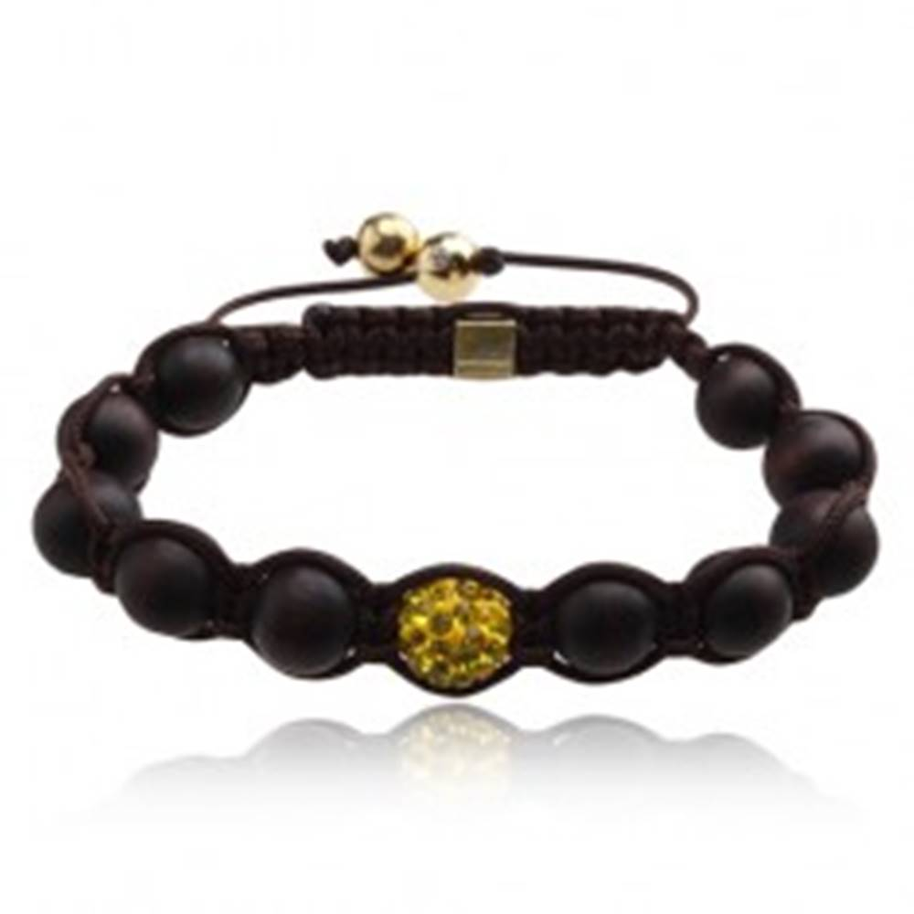 Šperky eshop Hnedý Shamballa náramok, gulička so žltými kamienkami