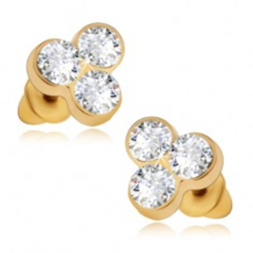 Šperky eshop Lesklé puzetové náušnice zlatej farby, tri okrúhle číre kamienky