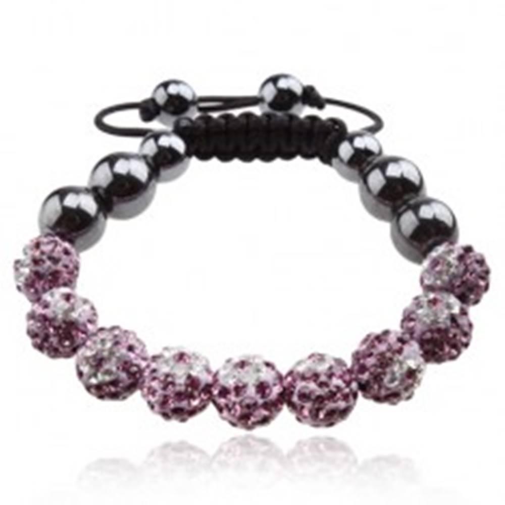 Šperky eshop Náramok Shamballa, fialové guličky s čírymi kvetmi, hematitové korálky