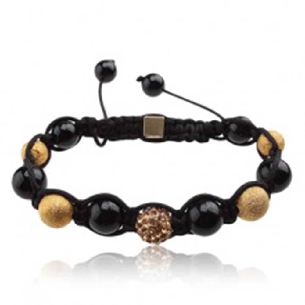 Šperky eshop Náramok Shamballa, korálky čiernej a zlatej farby, žltá zirkónová gulička