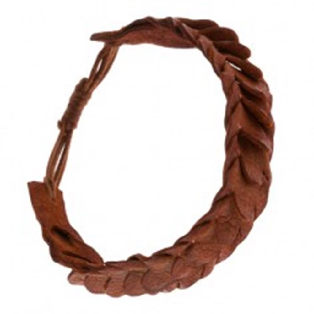 Šperky eshop Náramok so šupinovým vzorom z kože karamelovej farby