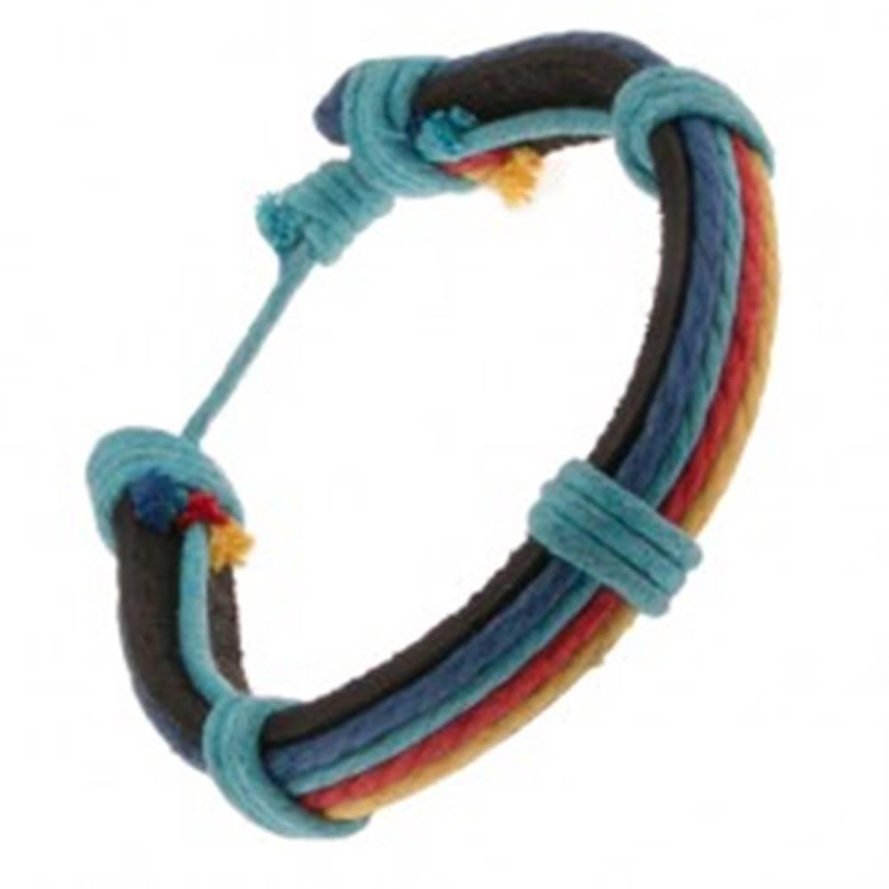 Šperky eshop Náramok z kože - čierny pruh, rôznofarebné motúziky, modrá šnúrka