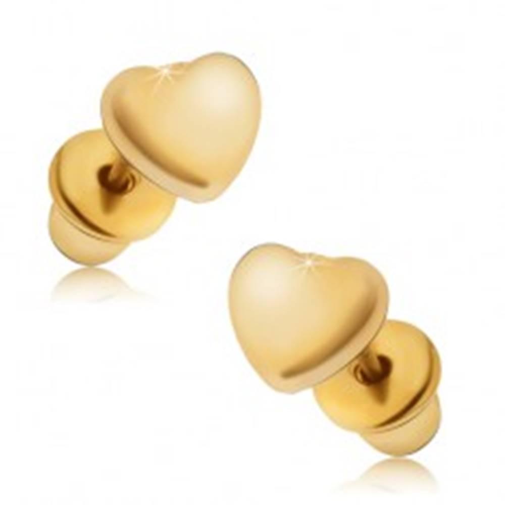 Šperky eshop Náušnice zlatej farby, súmerné lesklé srdcia