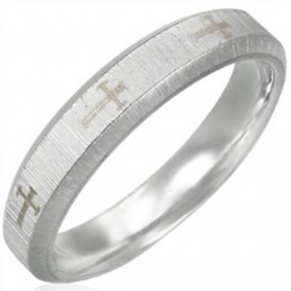 Šperky eshop Oceľová obrúčka, saténový pás, kríže, šikmé okraje - Veľkosť: 51 mm