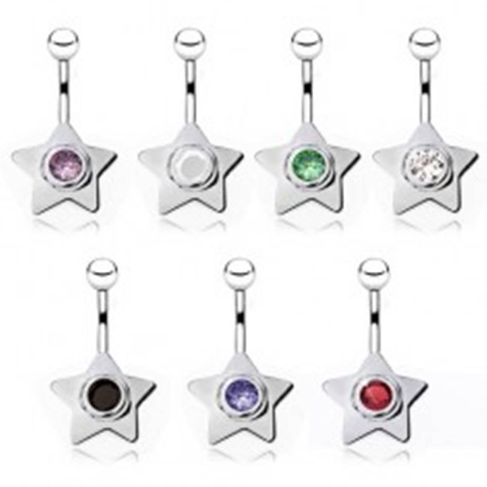 Šperky eshop Piercing do brucha z ocele, hviezda s farebným zirkónom - Farba zirkónu: Biela - W