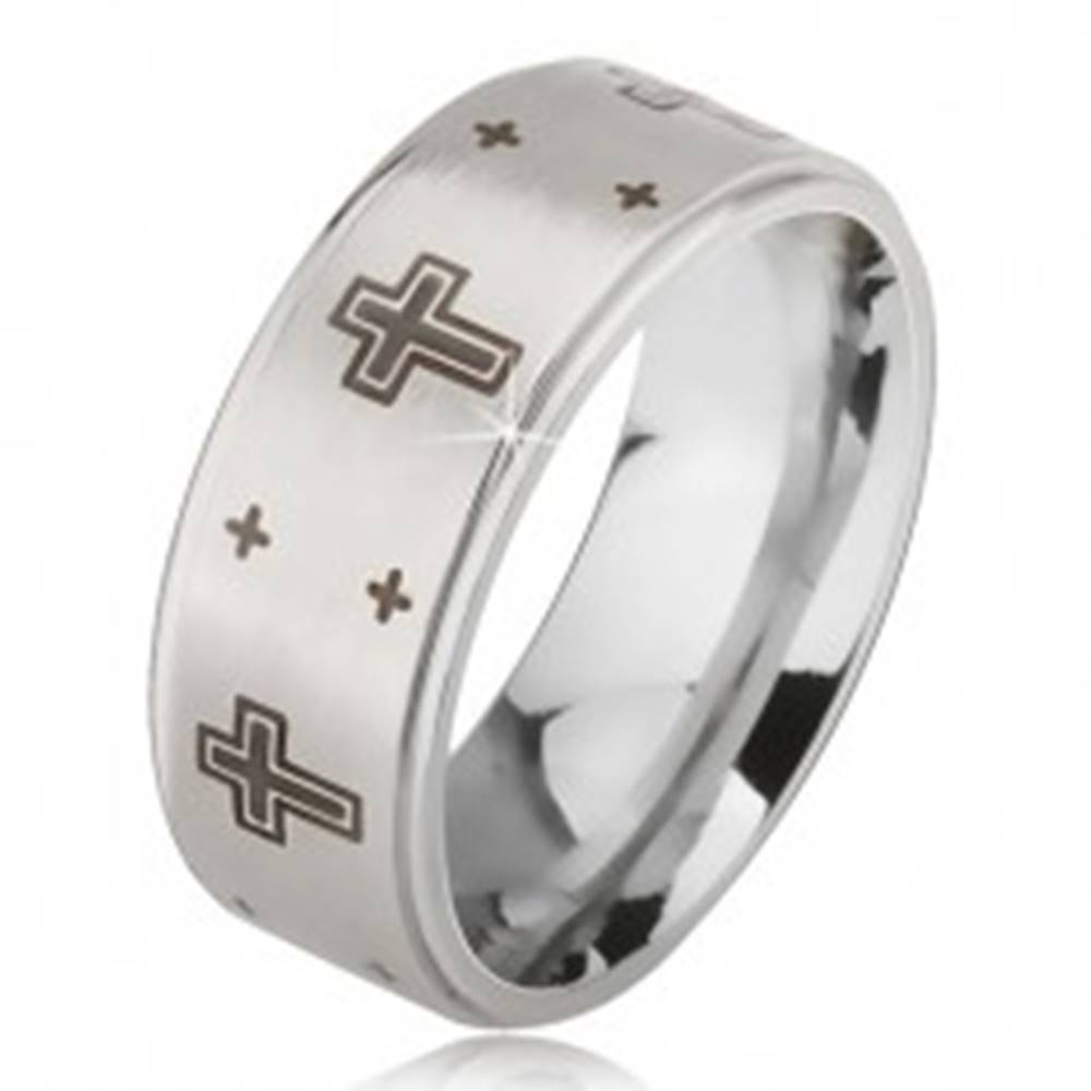 Šperky eshop Prsteň z ocele - strieborná farba, obrúčka s matným stredom, potlač kríža  - Veľkosť: 52 mm