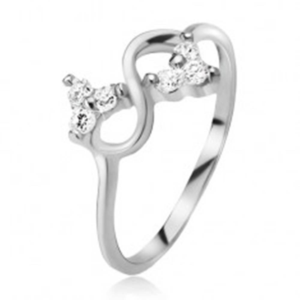 Šperky eshop Prsteň zo striebra 925, symbol nekonečna, číre brúsené kamienky - Veľkosť: 49 mm