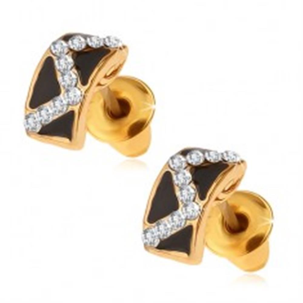 Šperky eshop Puzetové náušnice - čierne glazúrované pásy, cik-cak vzor z kamienkov