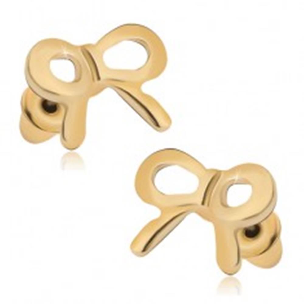 Šperky eshop Puzetové náušnice zlatej farby, lesklé mašličky