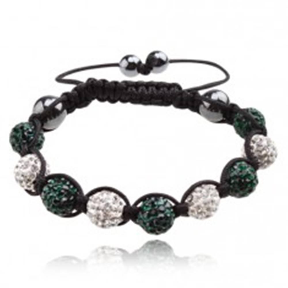 Šperky eshop Shamballa náramok - ligotavé tmavozelené a biele guľôčky, šnúrka