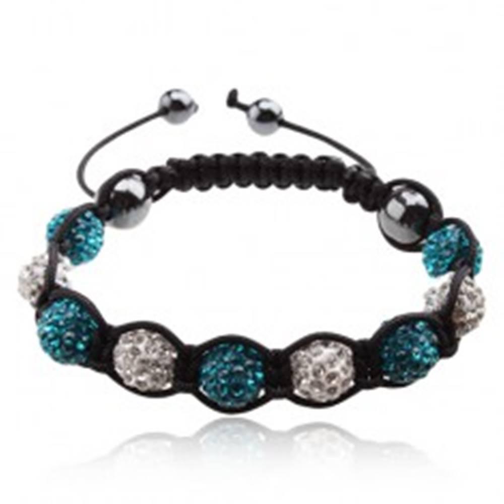 Šperky eshop Shamballa náramok, modré a číre zirkónové guličky