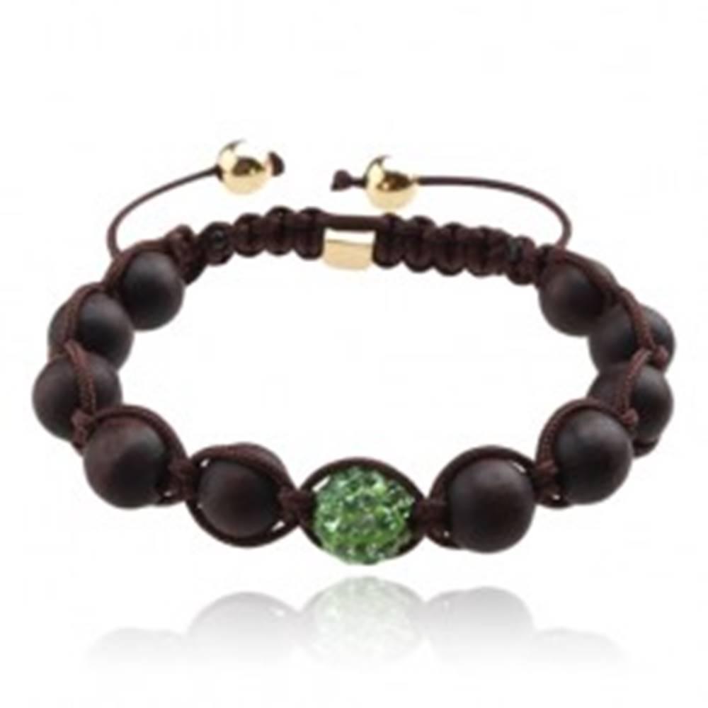 Šperky eshop Shamballa náramok, tmavohnedé korálky, zelená zirkónová gulička