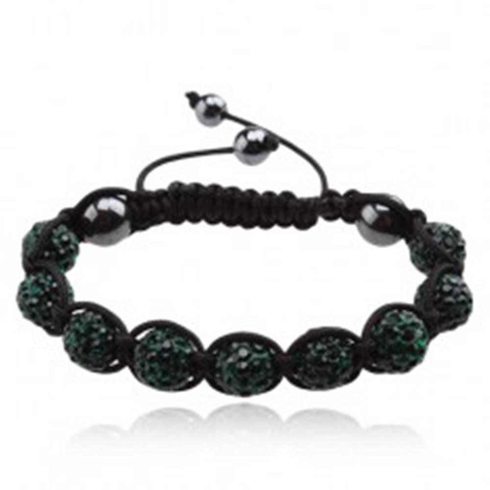 Šperky eshop Shamballa náramok, zirkónové guličky smaragdovej farby