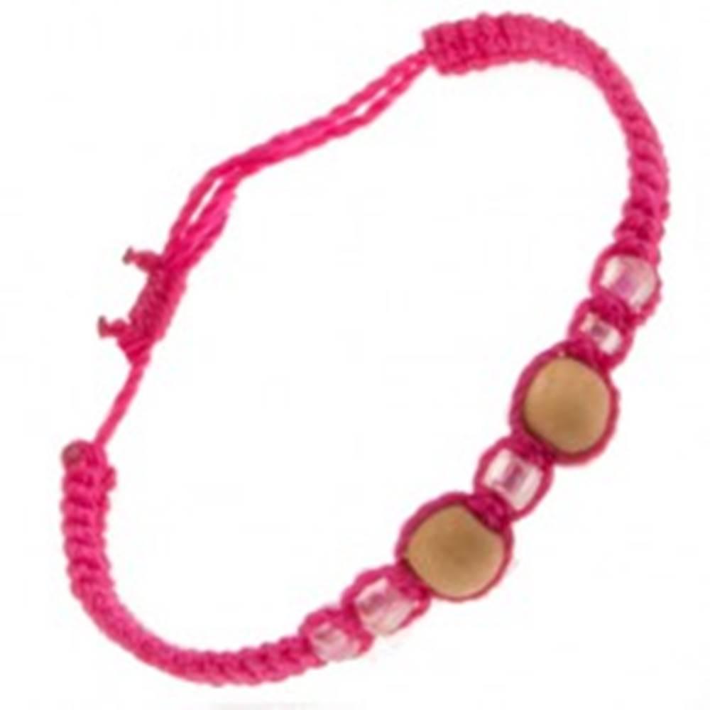 Šperky eshop Šnúrkový náramok ružovej farby, dve drevené guličky, sklenené korálky