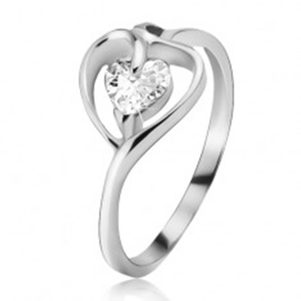 Šperky eshop Strieborný prsteň 925, kontúra srdca s čírym zirkónom - Veľkosť: 49 mm