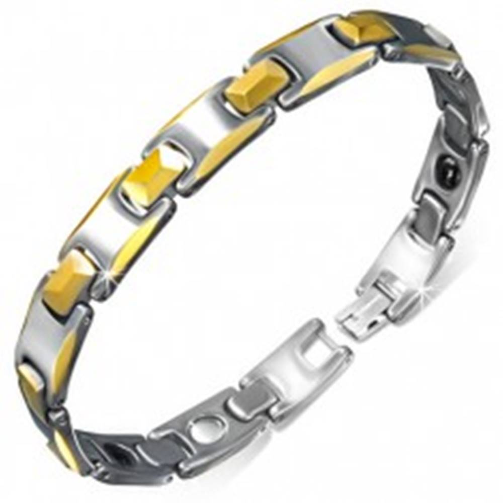 Šperky eshop Wolfrámový magnetický náramok, články so skosenými okrajmi zlatej farby