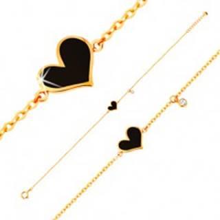Náramok v žltom 14K zlate - čierne asymetrické srdce a číry zirkónik, retiazka