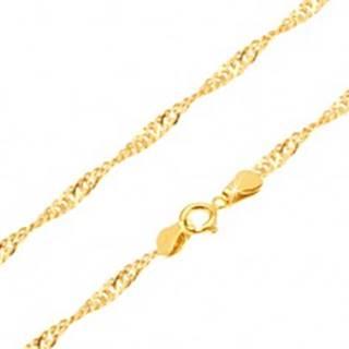 Retiazka zo žltého 14K zlata - ploché oválne očká, špirála, 450 mm
