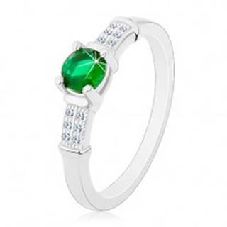 Zásnubný prsteň, striebro 925, zirkónové ramená, okrúhly zelený zirkón - Veľkosť: 47 mm