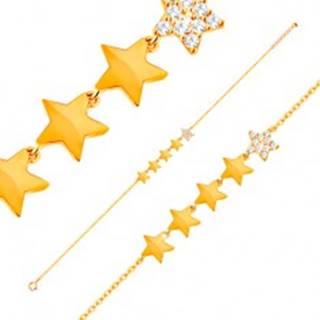 Zlatý 14K náramok - línia piatich hviezdičiek, retiazka z oválnych očiek, 180 mm