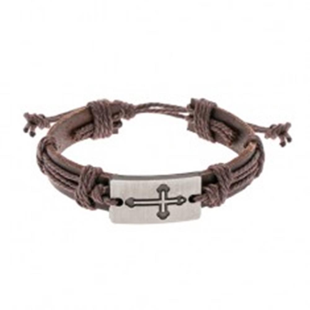 Šperky eshop Hnedý kožený náramok so šnúrkami, obdĺžnik s vyrytým jetelovým krížom